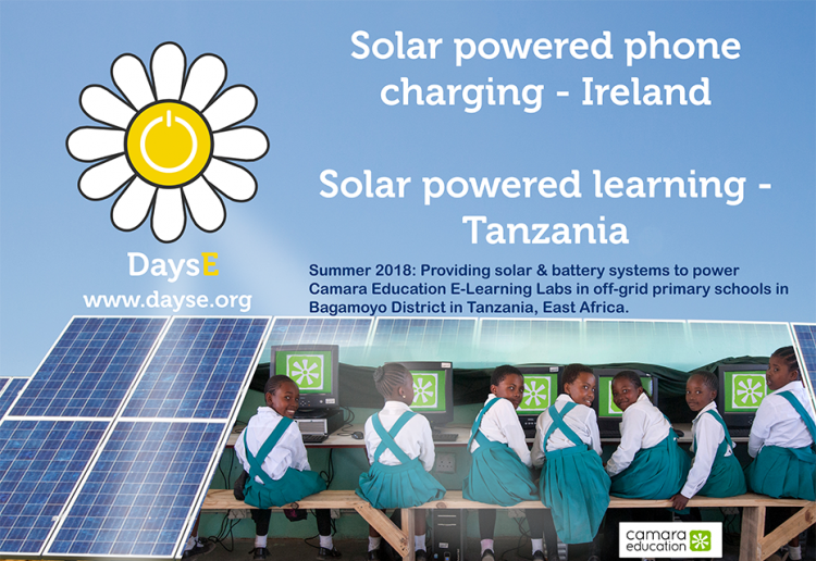 Summer 2018 Dayse using solar power to power phones at festivals and to power learning in tanzania