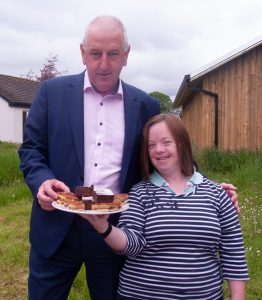 Liam Walsh of Irish Country Meats enjoyed the cakes baked for his visit by The Watergarden Café team in Thomastown